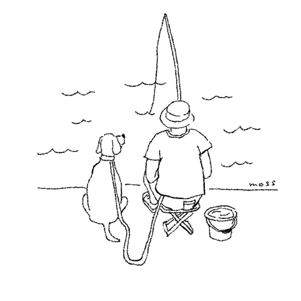 シンプルイラスト,dog,fishing